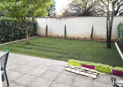 Engazonnement par placage de pelouse naturelle à Lyon 3e